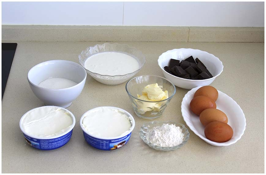 Tarta de queso mascarpone y chocolate