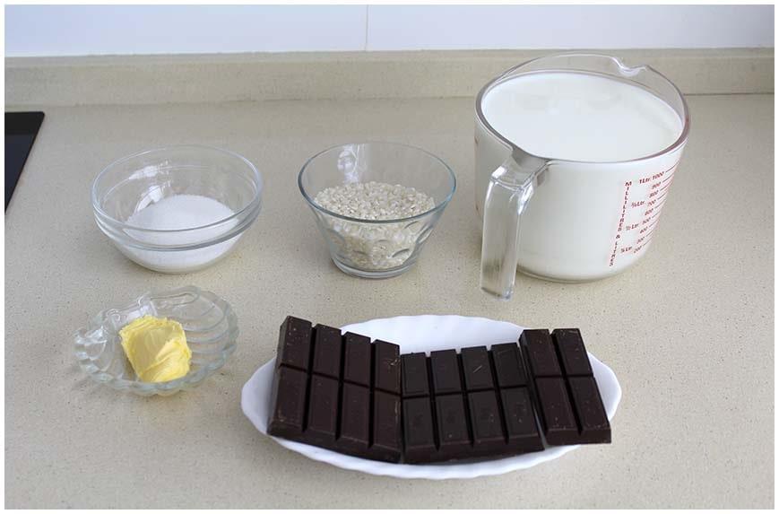 Arroz con leche al horno con chocolate