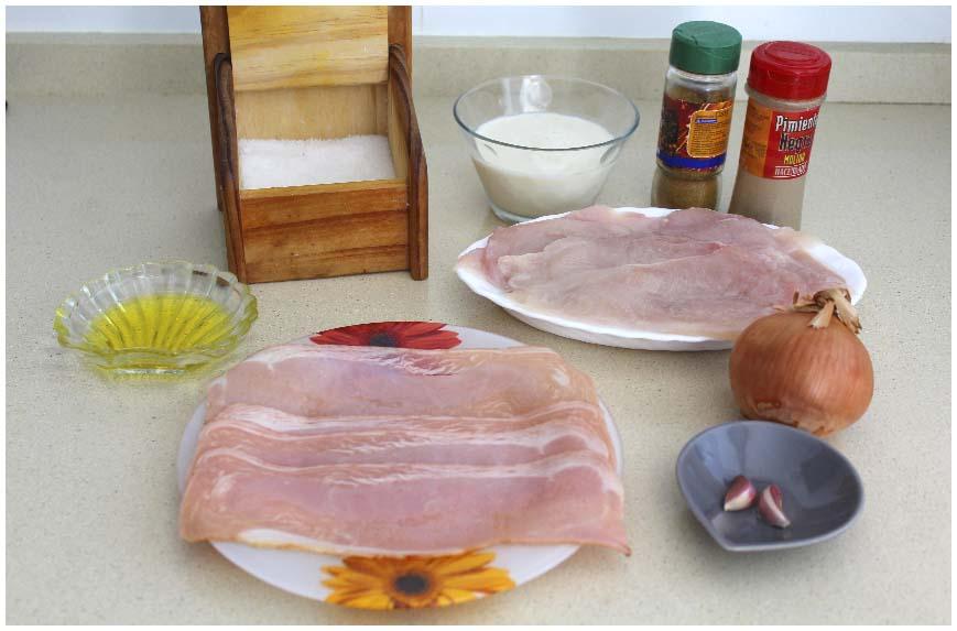 Pollo al curry con bacon