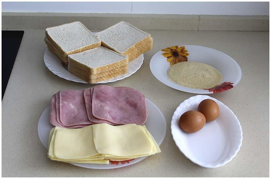 Flamenquines de pan de molde con jamón y queso