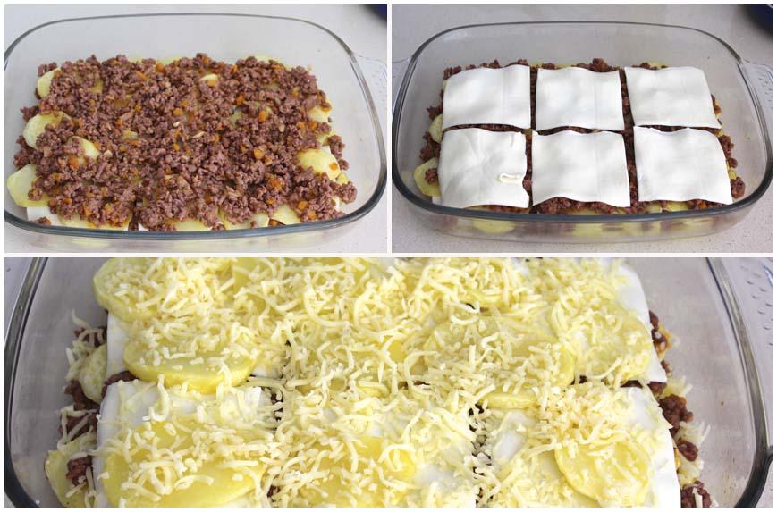 Pastel de patatas carne picada y queso recetas de isabel - Que cocinar con carne picada ...