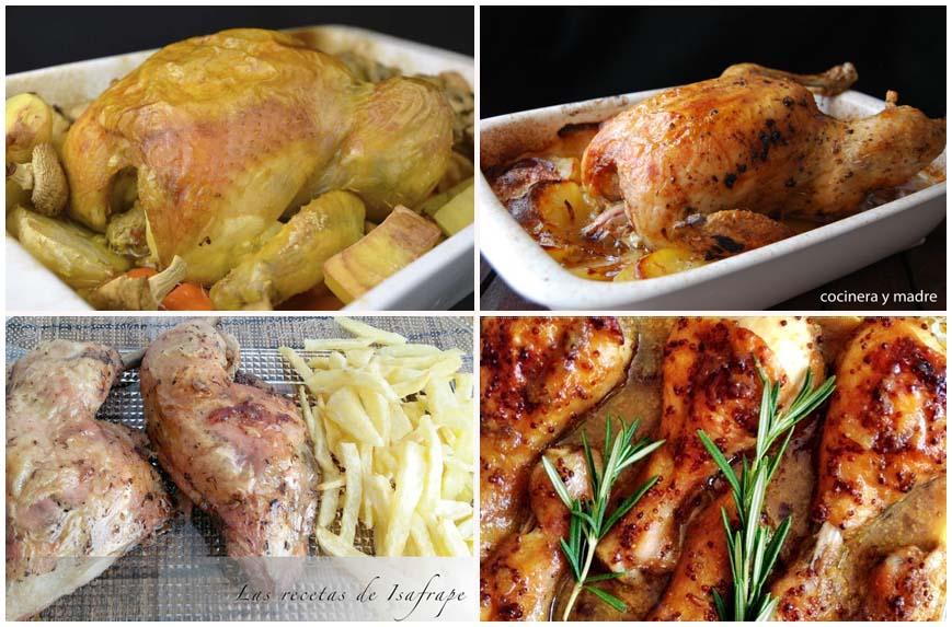 Cuatro recetas de pollo asado