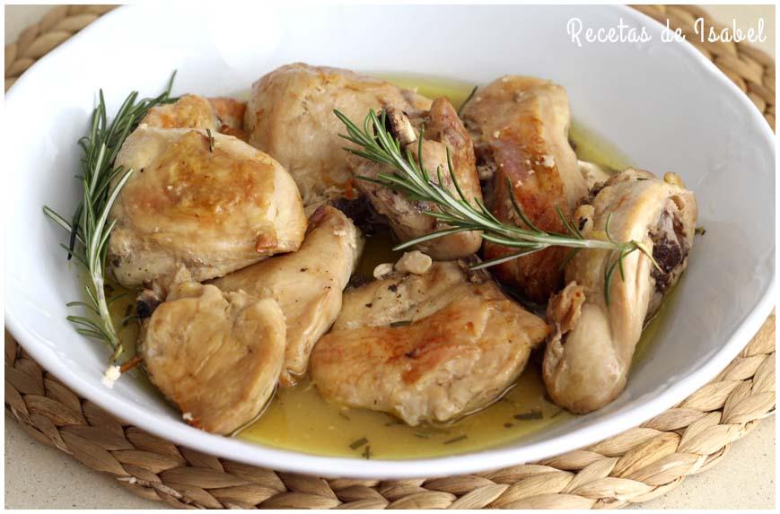 Pollo al horno con romero. Receta fácil