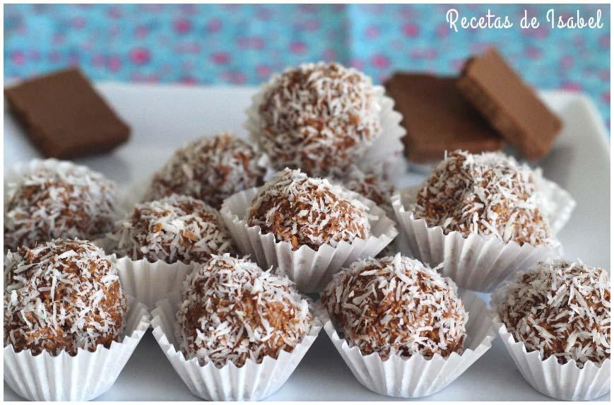 bombones de chocolate y coco sin más ingredientes