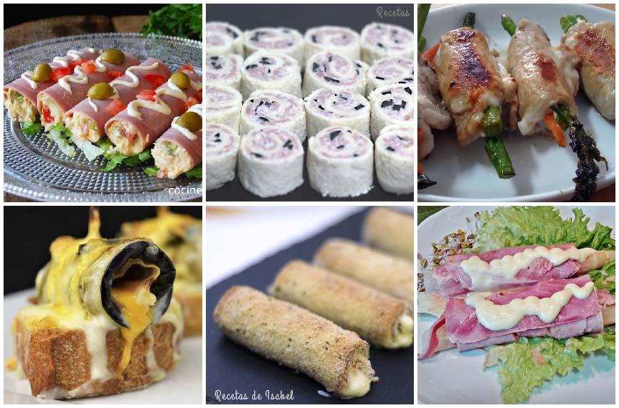 Rollitos salados para aperitivos