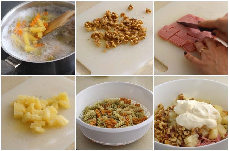 Ensalada de pasta con piña y nueces