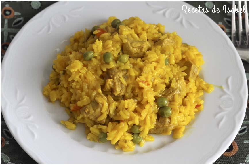 Arroz con carne en amarillo, receta casera