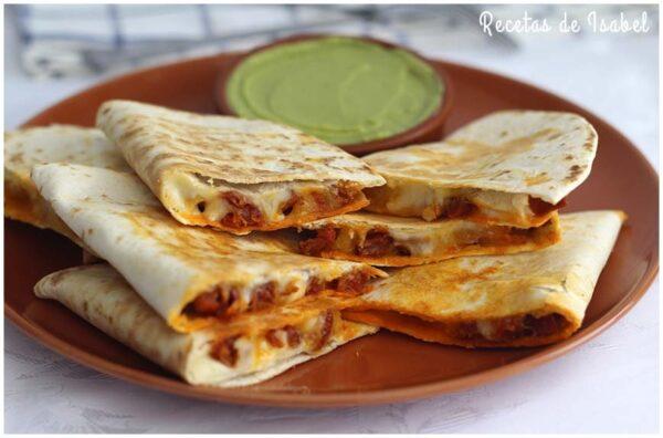 Quesadillas de chorizo y queso. Se preparan en unos minutos