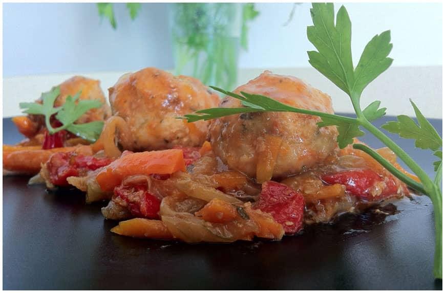 Albóndigas de pollo con salsa agridulce