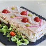 Pastel de pan de molde con frutos del mar