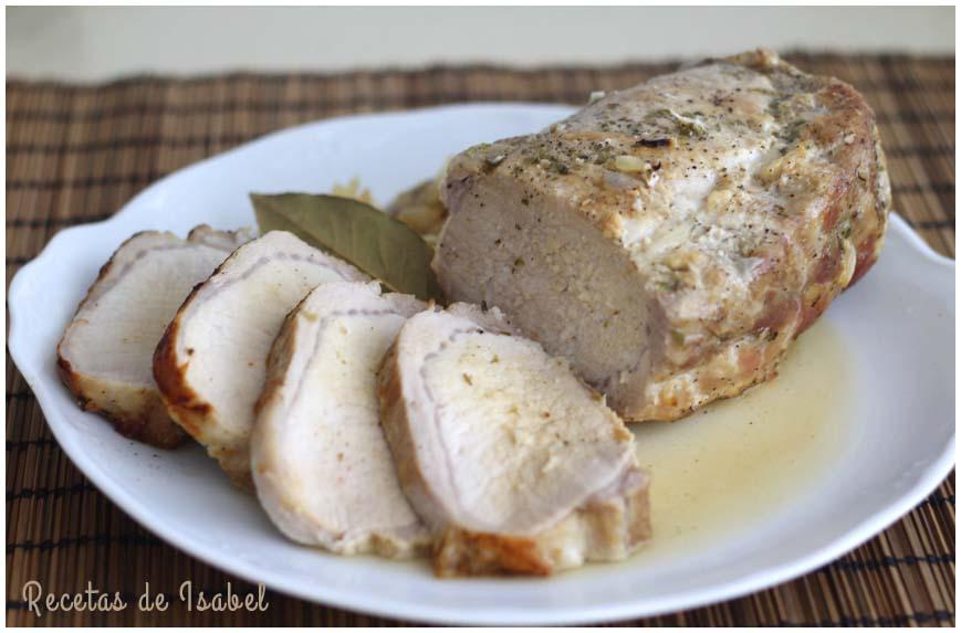 Lomo de cerdo asado muy jugoso y sabroso