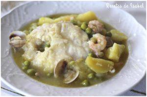 merluza con patatas, gambas y almejas (a la koskera)