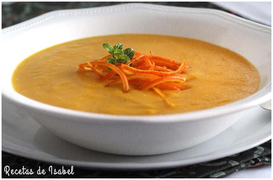 Crema De Zanahorias Y Naranja Con Jengibre Recetas De Isabel