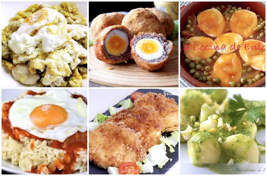 Selección de seis recetas con huevos
