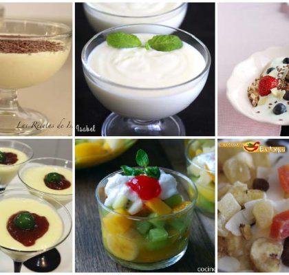 Postres con yogur en vasos y copas