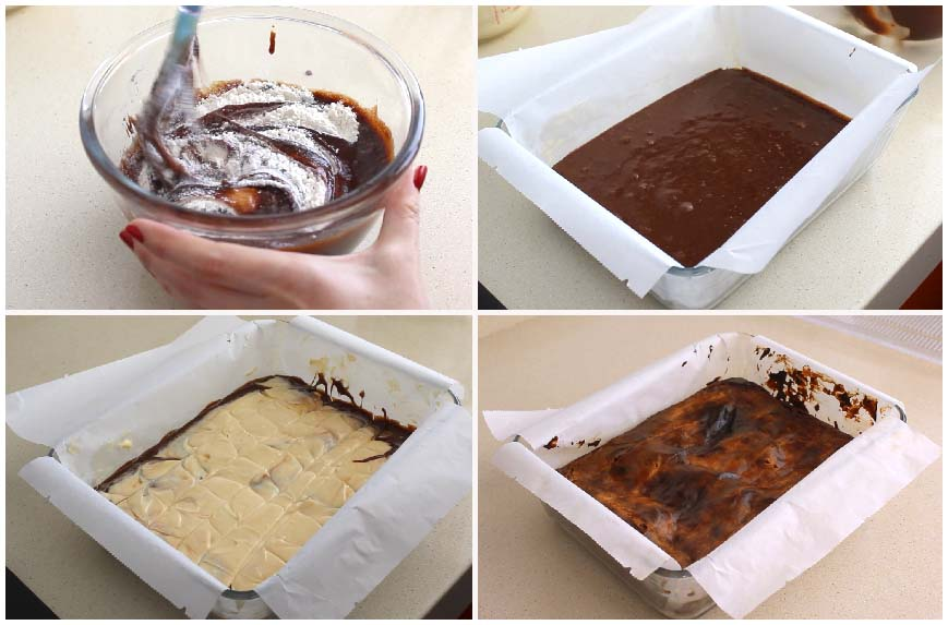 Brownie de chocolate y tarta de queso muy fácil