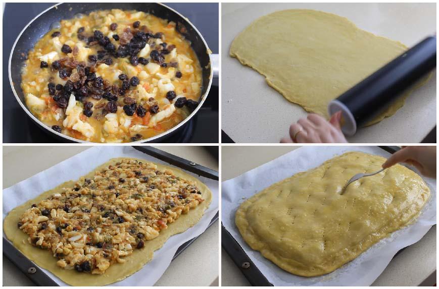 Empanada de bacalao y pasas con masa casera