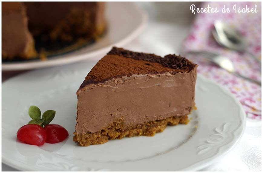 Tarta de queso y chocolate sin horno fácil y deliciosa