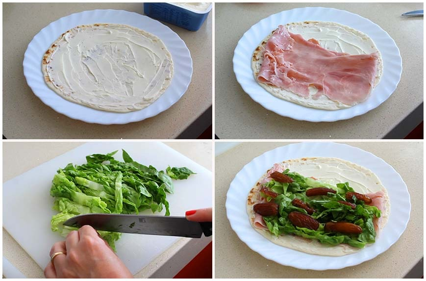 Wraps rellenos de lechuga, jamón cocido y dátiles