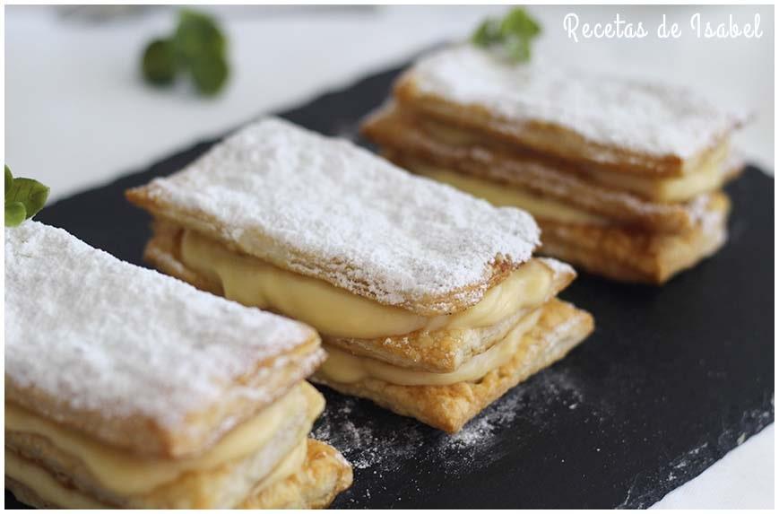 Milhojas de crema pastelera con azúcar glass