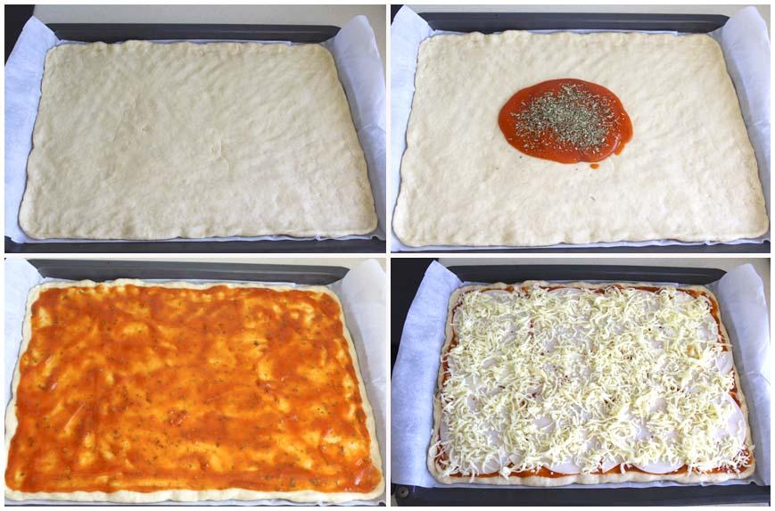 Pizza casera con masa de leche, jamón y bacon