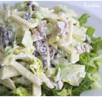 Ensalada waldorf. Ensalada americana fácil y rápida de hacer